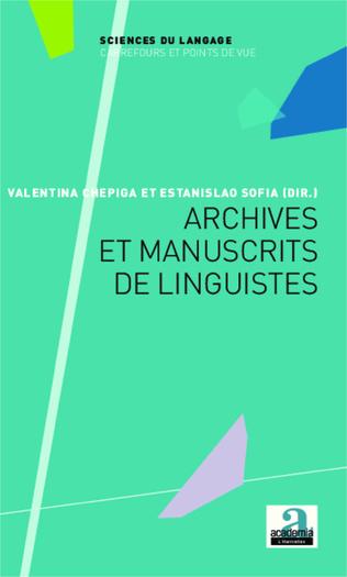 Couverture Archives et manuscrits de linguistes