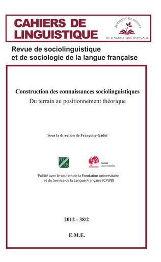 Couverture Construction des connaissances sociolinguistique