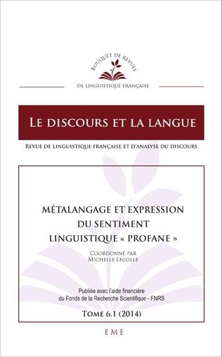 Couverture Métalangage et expression du sentiment linguistique