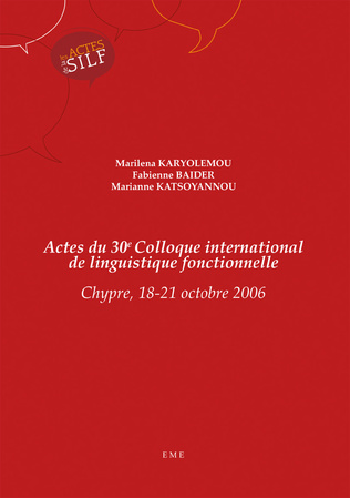 Couverture Actes du 30e Colloque international de linguistique fonctionnelle