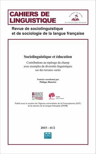 Couverture Sociolinguistique et éducation