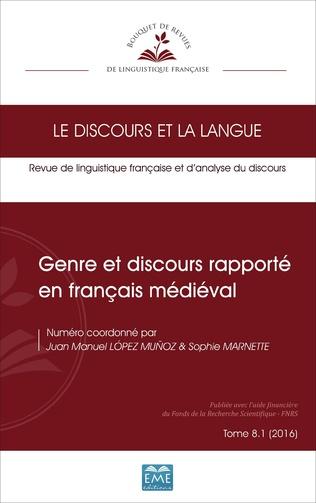 Couverture Genre et discours rapporté en français médiéval