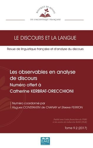 Couverture Les observables en analyse de discours