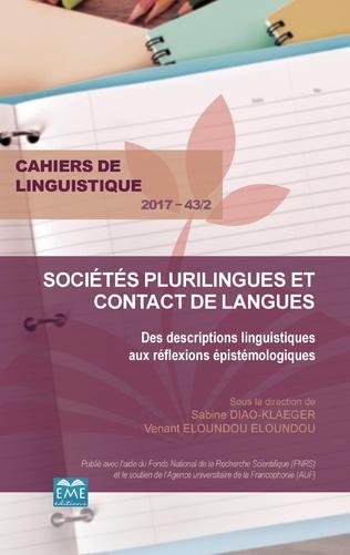 Couverture Sociétés plurilingues et contact de langues