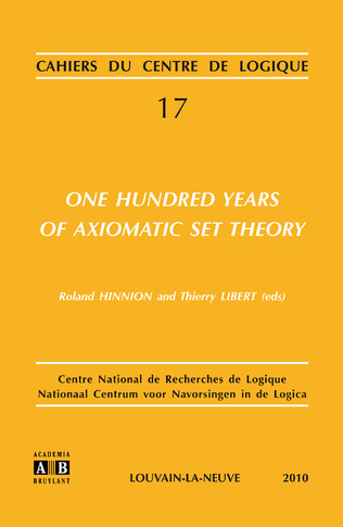Couverture One Hundred Years of Axiomatic Set Theory
