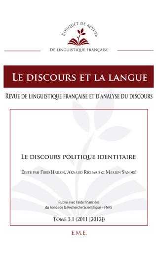 Couverture Le discours politique identitaire