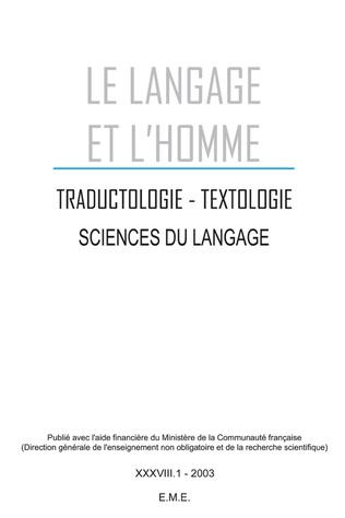 Couverture Traductologie, textologie, sciences du langage