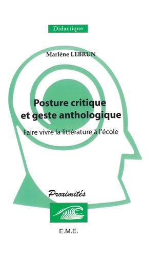 Couverture Posture critique et geste anthologique