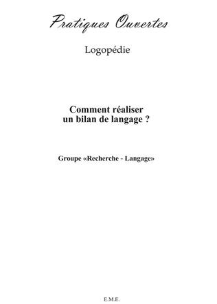 Couverture Comment réaliser un bilan de langage ?