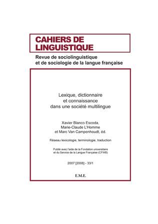 Couverture Lexique, dictionnaire et connaissance dans une société multilingue
