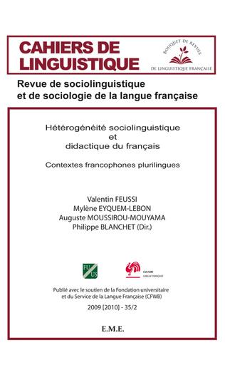 Couverture Hétérogénéité sociolinguistique et didactique du français