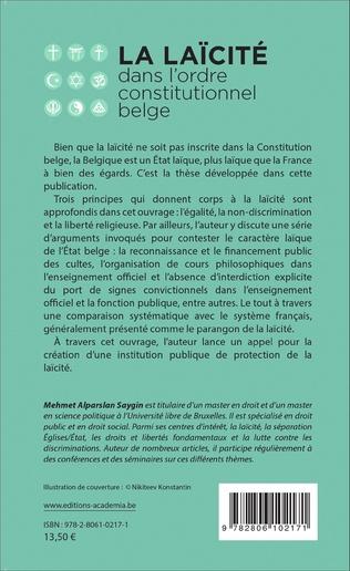 4eme La laïcité dans l'ordre constitutionnel belge