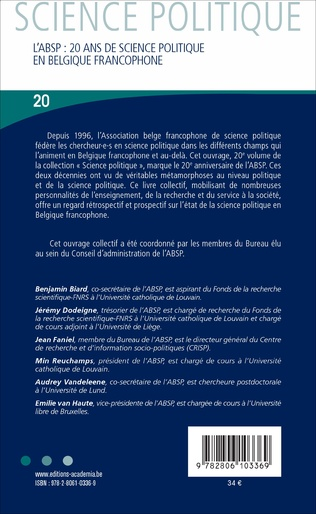 4eme L'ABSP 20 ANS DE SCIENCE POLITIQUE EN BELGIQUE