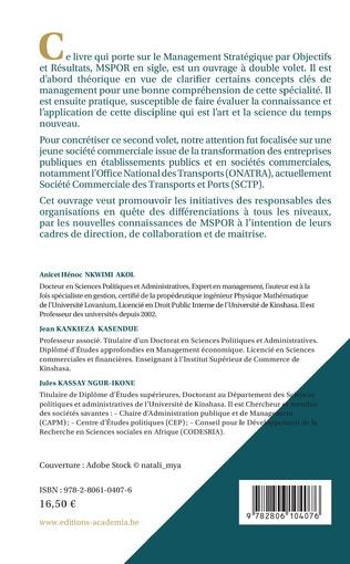 4eme Management Stratégique par Objectifs et Résultats (MSPOR)
