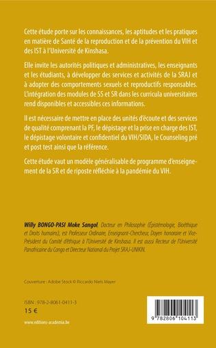 4eme Promotion de la santé reproductive et prévention du VIH/SIDA et des IST à l'Université de Kinshasa