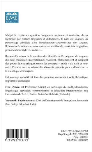 4eme L'enseignant non-natif : identités et légitimité dans l'enseignement-apprentissage des langues étrangères