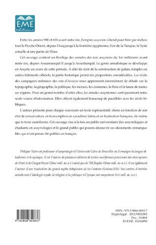 4eme Annales Assyriennes (Volume I)