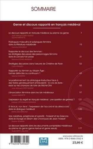 4eme Genre et discours rapporté en français médiéval