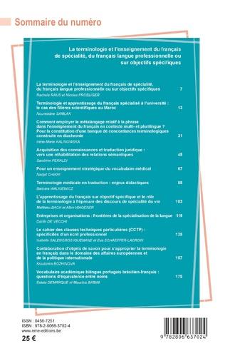 4eme La terminologie et l'enseignement du français de spécialité, du français langue professionnelle ou sur objectifs spécifiques