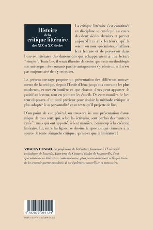 4eme HISTOIRE DE LA CRITIQUE LITTERAIRE DES XIX ET XXE SIECLES