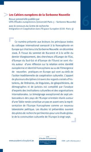 4eme NOUVEAUX VISAGES DE LA FRANCOPHONIE EN EUROPE