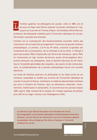 4eme L'INSTITUT SUPERIEUR DE PHILOSOPHIE DE LOUVAIN (1889-1968)