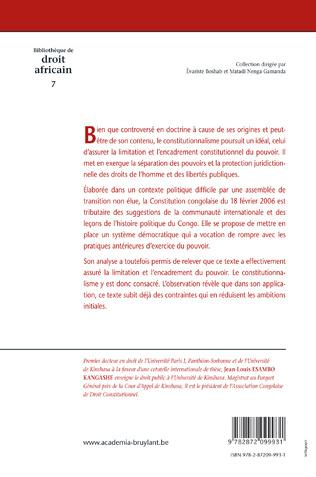4eme La constitution congolaise du 18 février 2006 à l'épreuve du constitutionnalisme