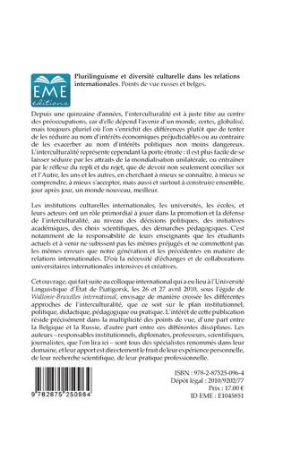 4eme Plurilinguisme et diversité interculturelle dans les relations internationales