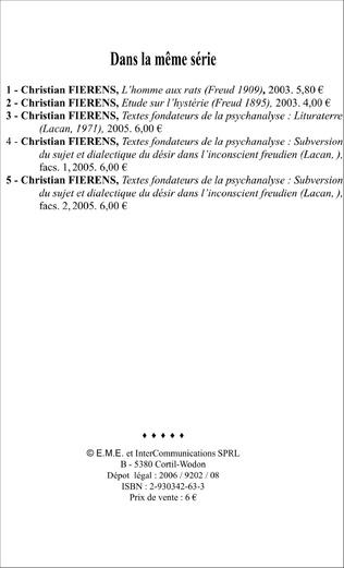 4eme Textes fondateurs de la psychanalyse