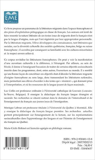 4eme La littérature migrante dans l'espace francophone